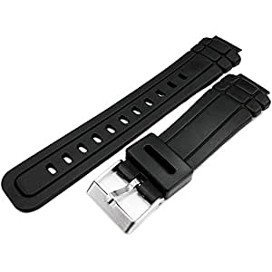 Casio Style Black Rubber Watch Strap Band 16mm Fitment 23mm Overall Width