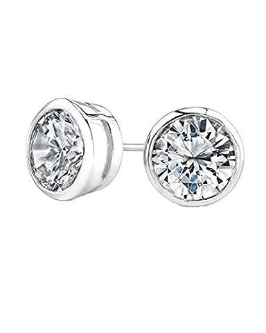 iJewelry2 Round Cut Diamond CZ Bezel Silver Basket Set Men Unisex Stud Earrings (0.8ct. 6mm)