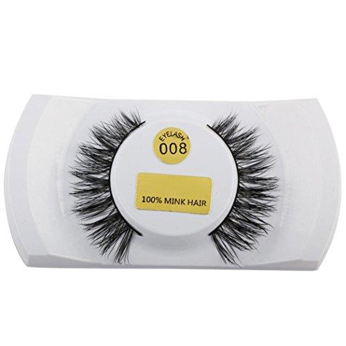 Hunpta 3D Wimpern Mink natürliche Dicke gefälschte Wimpern Auge Wimpern Make-up Erweiterungen (G)