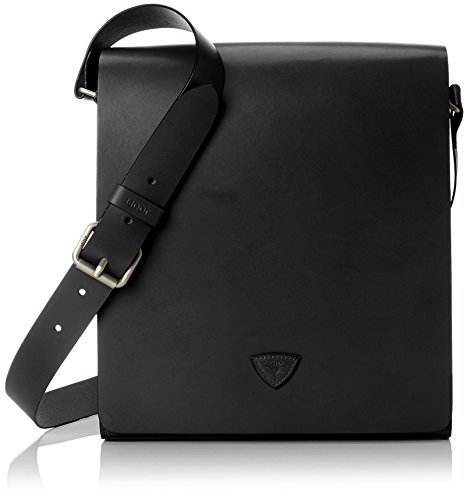 Joop! Oxford Leander Flapbag Messenger Leder 30 cm Schwarz