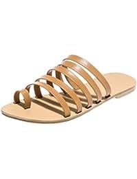 2b0d5b9442a3b5 Dorical Damen Pantoffeln Sommer Schuhe Flach Streifenschuhe Peep Toe  Sandalen Hausschuhe…