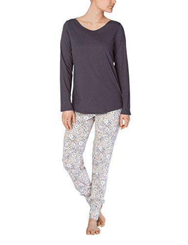 Calida Damen Zweiteiliger Schlafanzug Olivia, Grau (Iron Grey 979), 44 (Herstellergröße: M) (Olivia Schlafanzug)