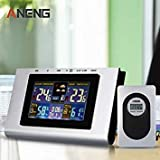 Home Wireless Weather Station Colorful LCD Digital In/Outdoor Temperature Humidity Snooze Alarm Clock