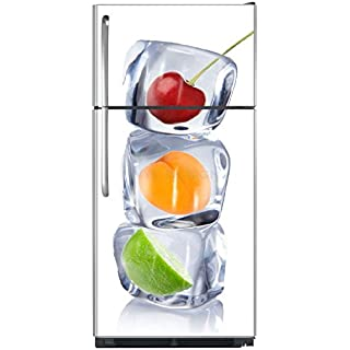 Sticker autocollant frigo Fruits et Glaçons 70x170cm SAEFR1011 (Fond Blanc )