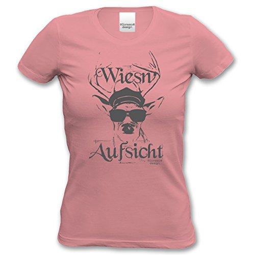 Wiesn - Aufsicht :: Lustiges Sprüche Oktoberfest-Motiv-T-Shirt für Damen & Mädchen - Trachtenshirt Farbe: rosa Rosa