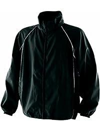 Finden & Hales Piped Showerproof Training Jacket - Black/Black/White - L