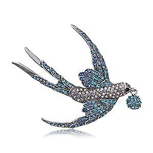 AILUOR Damen Reizender Kristall Swallow-Brosche, Elegante Strass Tier-Vogel-Sammlung Maßanfertigungen Zubehör Hochzeit Broschen Revers Pin Schmuck Geschenke