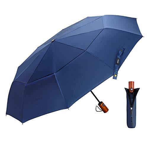 EKOOS Regenschirm Taschenschirm Automatik Groß Winddicht Doppel Baldachin 210T Stoff Auf-Zu-Automatik10 Rippen mit Fiberglas Gestänge (Blau) -