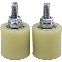 BQLZR BQLZR amarillo plata PP Rueda de acero soporte de rodamiento de rodillo guía 6201 M10