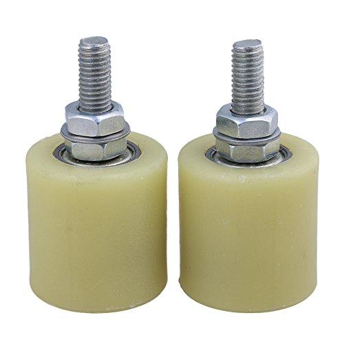 BQLZR BQLZR amarillo plata PP Rueda de acero soporte de rodamiento de rodillo guía 6201 M10 Tornillo para eléctrico puerta corredera puerta Pack de 2, M4170626082