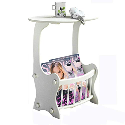 Jcnfa Table d'appoint avec tablette, tablette, blanc, table de chevet avec tablette