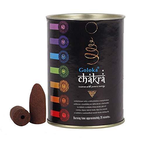 Conos de Reflujo incienso chakra goloka calidad superior, lata de cartón y metal 18 conos de una de...