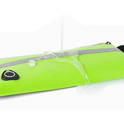 Vic Gruppe Running Gürtel Runner Waistpacks Wasserdicht Fitness Gürtel mit Taschen mit Reißverschluss Kopfhörer Loch hält alle Handys Größe unten 15,2cm Handy für Outdoor Sports (5colors) grün