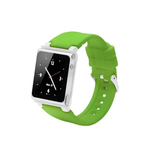 ares Sport Uhrenarmband für Ipod Nano 6.Generation,Aluminiumgehäuse,Silikongürtel,Ipod Nano 6th Watch Band,Handschlaufe für iPod Nano 6G(OEM)(Grün) ()