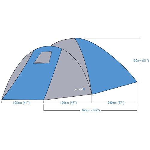 Adtrek Blue/Grey Double Skin Dome 4 Man Berth Camping Festival Family Tent