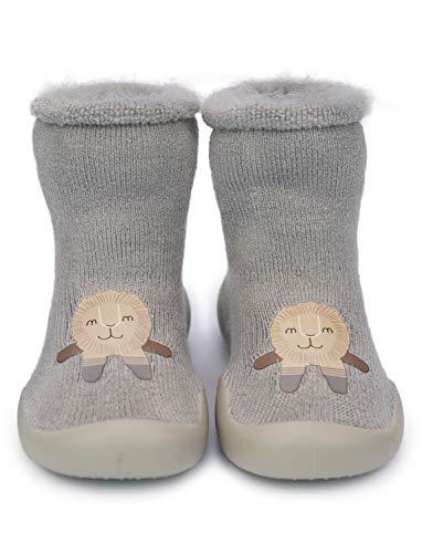 736fbd81eb783 Adorel Chaussons Chaussettes Antidérapante Bébé Enfants Gris 12-18 Mois