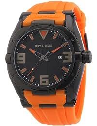 POLICE RAPTOR P13093JSB-02A - Reloj analógico de cuarzo para hombre, correa de goma color naranja