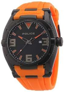 Police - PL.13093JSB-02A - Montre Homme - Quartz Analogique - Cadran Noir - Bracelet Silicone Orange