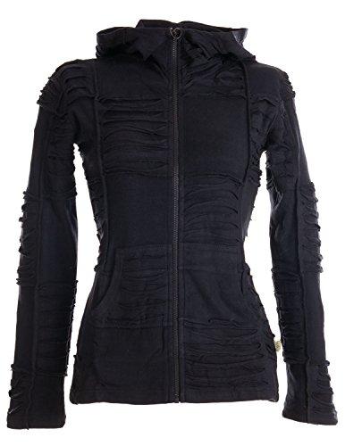 Vishes - Alternative Bekleidung - Patchwork-, Zipfelkapuzenjacke aus Baumwolle mit Cutwork schwarz-Uni 48/50 -
