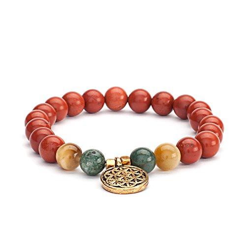 "Mala Perlen-Armband, roter Jaspis, Moosachat & Tigerauge mit Charm""Blume des Lebens"", Gr. M"