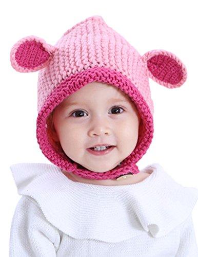 La Vogue Bébé Fille Tricot Laine Manuel Oreille Capuche Crochet Automne  Hiver Enfant Uni Cache Rose 269896d452d