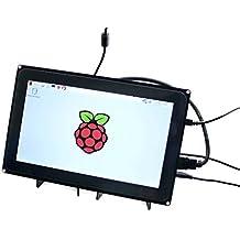 Makibes 10.1 Pulgadas Raspberry Pi 1024*600 Pantalla Táctil Capacitiva HDMI LCD (H) para Raspberry Pi 2 3 modelo B/ B +/PC de sistemas/BeagleBone Negro Raspbian Ubuntu Windows de 10 IoT con Marco Bicolor
