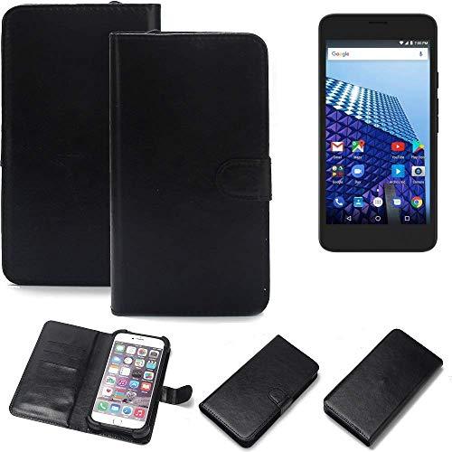 K-S-Trade® 360° Wallet Case Handyhülle Für Archos Access 55 3G Schutz Hülle Smartphone Flip Cover Flipstyle Tasche Schutzhülle Flipcover Slim Bumper Schwarz, 1x