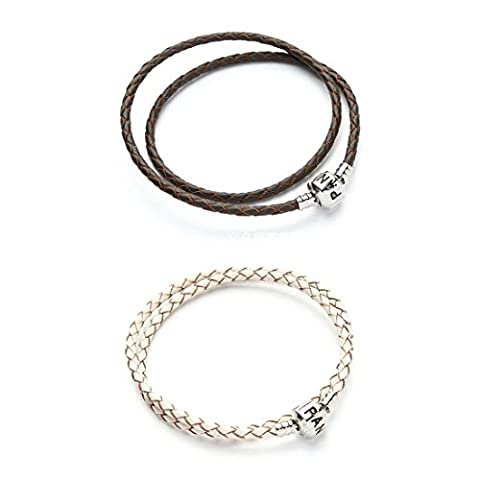 TOOGOO(R) 2Pcs Leather Charm Bracelet Double Wrap Love Clasp White Coffee Size:38cm