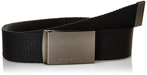 Urban Classics TB305 Unisex Gürtel Canvas Belt für Herren und Damen, stufenlos verstellbarer Stoffgürtel, Schwarz (Black), Gr. One Size