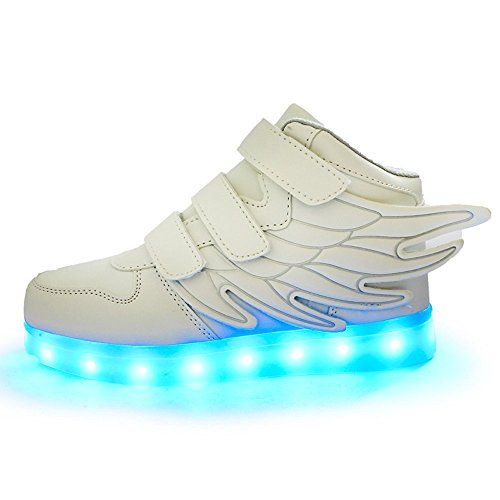 Aidonger Boy Girl Engel-Flüfel-Form Unisex 7 Farbe Farbwechsel USB Aufladen LED Leuchtend High-top Sport Schuhe Hoch Sneaker Turnschuhe Weiß