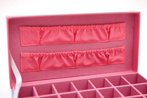Joyero-con-diseo-de-flores-hecho-de-tela-azul-y-rosa-para-guardar-cuentas-y-pendientes-21-compartimentos