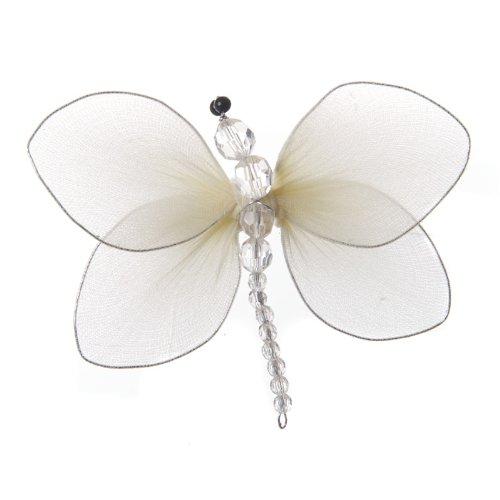 Creme Deko-Libelle Aus Hauchdünnem Nylon, Mit Perlenkörper Und Clip auf Unterseite Glitter Mesh Wings