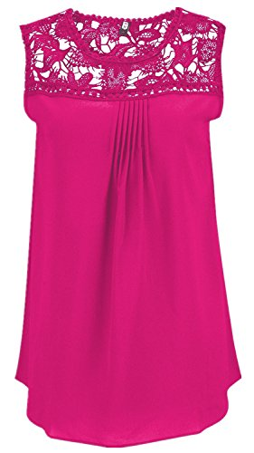 Sexy sans Manche Empiècements à Bordure en Dentelle Ajourée Mousseline Nageur Babydoll Vest Débardeur Caraco Shirt Chemise Trapèze Haut Top Rose Rouge