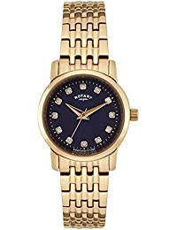 Rotary Women's Quartz Watch with Blue Dial Analogue Display and Rose Gold Plated Stainless Steel Bracelet LB02462/05