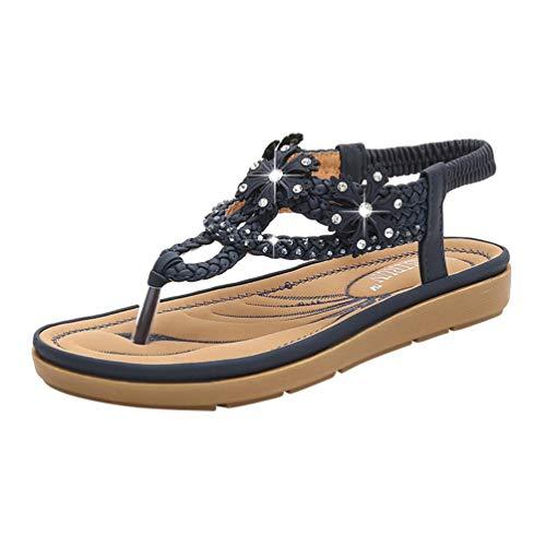 Jeelinbore sandali piatti da donna cinturino a t boemia strass sandali estivi scarpe da spiaggia pantofole (#2 marina militare, cn 38)