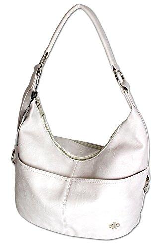 e9e549699b7bd Jennifer Jones Taschen Damen Damentasche Handtasche Schultertasche  Umhängetasche Tasche Hobo Bag in versch Farben 3109 WeissGrau