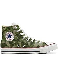 Converse Personalizzate all Star Hi Canvas, Sneaker Unisex (Prodotto Artigianale) Mimetiche