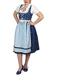 Traditional German Costume Midi Dress with Blouse and Apron for Women Blue White