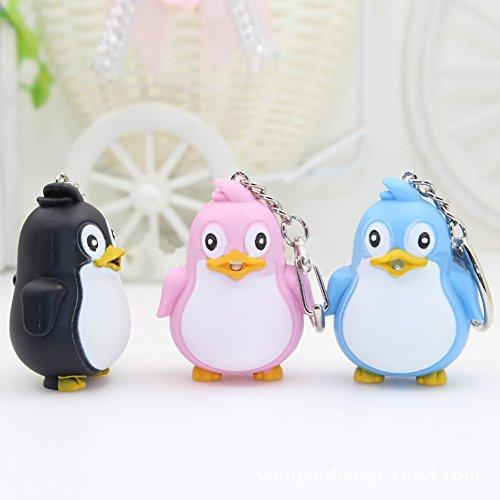 Nuohuilekeji Cute Animal Penguin LED Light with Sound Key Chain Key Ring Torch Gift