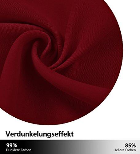 Blickdichte Vorhänge Isolierte Vorhänge – PONYDANCE Blickdichte Vorhänge mit Stangendurchzug für Wohnzimmer, Energiespar & Wärmeisolierend, H 213 cm x B 132 cm, Rot - 5