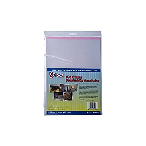 Stix2 Clear Printable Acetate Sheets, A4, Pack of 5