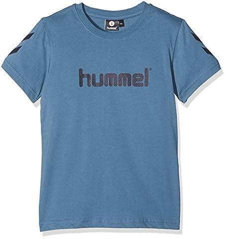 Hummel T-Shirt Jungen - JUNIOR V JAKI SS TEE AW17 - Trainingsshirt kurze Ärmel - Fitnessshirt Freizeit & Sport - Shirts 104-164 div. Farben Rundhals, Copen Blue, 140