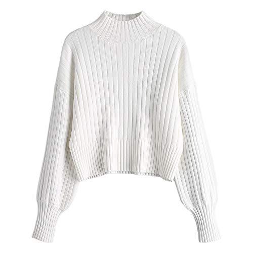 ZAFUL Damen Locker Rollkragenpullover Langarm Sweater Pulli Lose Bluse Pullover Tops(Weiß) (Rollkragen Top Weißer)