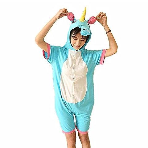 Jysport Combinaison pyjama en polaire à capuche, unisexe, pour enfants, hommes et femmes, motif animal Large Summer blue unicorn