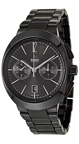 Rado D-Star Black Polished Ceramic Automatic Analog Chronograph Black Dial Mens Dress Watch R15200152