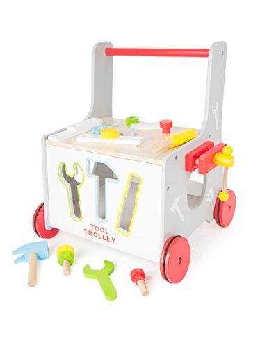Correpasillos 2 en 1 taller de herramientas, juego de insartar con ruedas de goma 34 x 36 x 44 cm, Accesorio de 13 piezas
