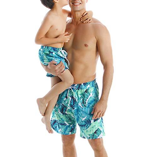 Gaga city Bañadores Familia con Estampado de Hojas Madre Padre Hijo Hija Traje de Baño Azul Bikini...