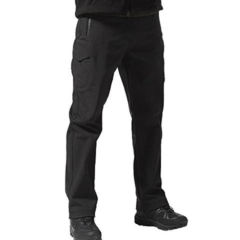 Free Soldier Outdoor entièrement Pantalon softshell doublées en polaire Walking coupe-vent imperméable chaud hiver Pantalon XXL noir