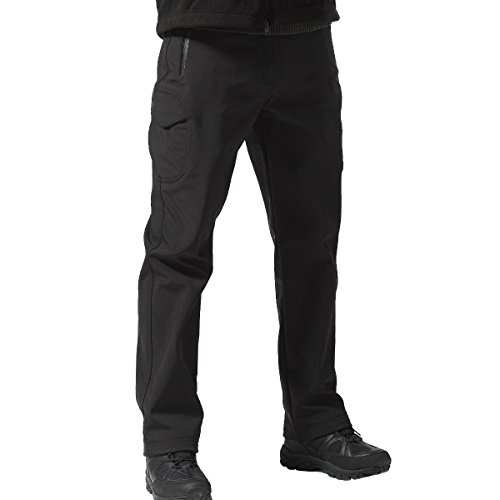 FREE SOLDIER Outdoor vollständig Herren Softshell Fleece gefüttert Walking Hose wasserdicht winddicht Warm Winter Hose(schwarz XXL) (Schwarz Plaid Cargo)