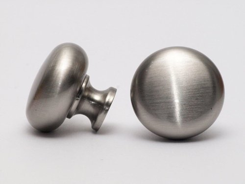 Möbelknopf Möbelgriff Schubladengriff - in verschiedenen Farben - Höhe 27 mm (Edelstahl Optik) (Glänzende Möbelknöpfe)